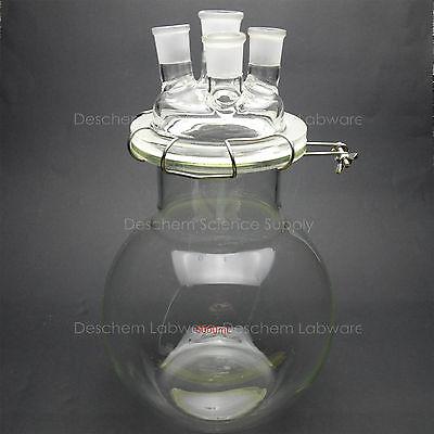 5000mlglass Reaction Vessel5l24294-neckslab Chemistry Reactorflat Bottom