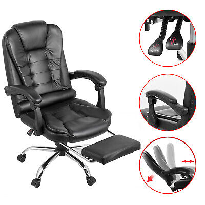 Executive Reclining Office Chair Ergonomic High Leather Footrest Armchair Swivel