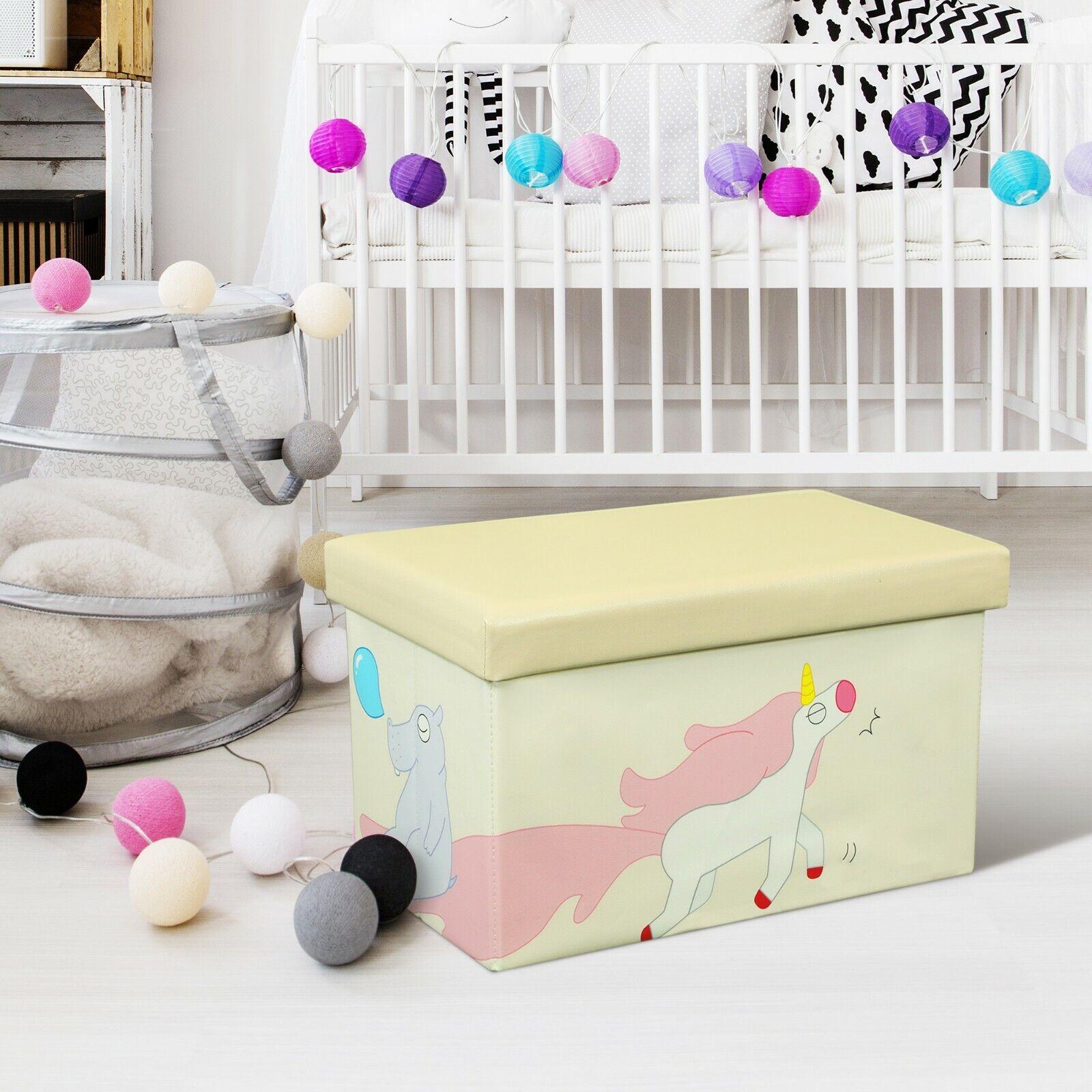 FINAL SALE Kids Folding Storage Ottoman Box Toy Organizer Ki