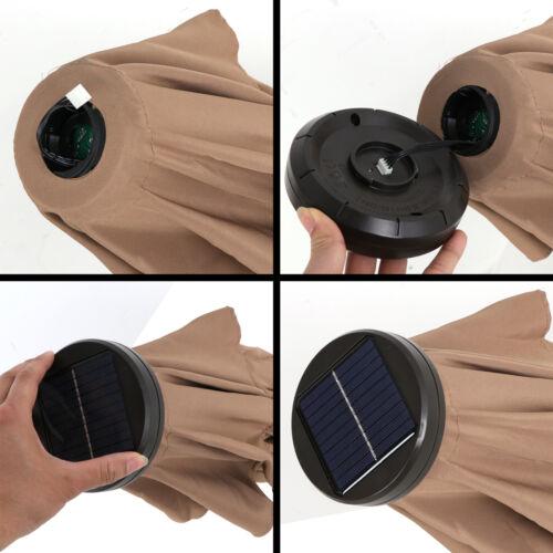 10FT Patio Solar Umbrella LED Patio Market Steel Tilt And Crank Outdoor Tan Garden Structures & Shade