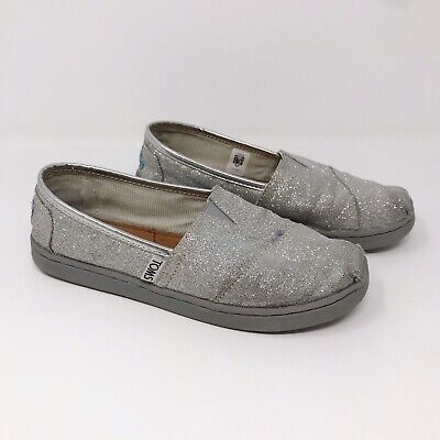 Toms Kids Youth Girls Glitter Classics Slip On Shoes Silver Sparkly Sz 2 EU - Sparkly Kids Shoes