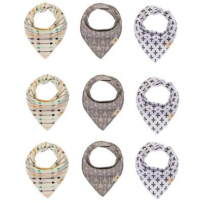Baby Bandana Drool Bibs for Boys & Girls Unisex 9-Pack Gift Set 100% Organic Organic Baby Bib