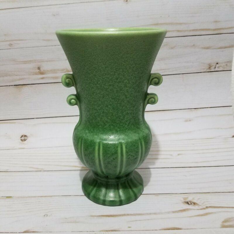 """Vintage Vase ~ Urn Base, Speckled Green Matte finish. 8 1/4"""" tall"""