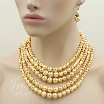 Gold Glass Pearl Multi Layered Strand String Necklace Earrings Jewelry set 00143 (Multi String Pearl Set)