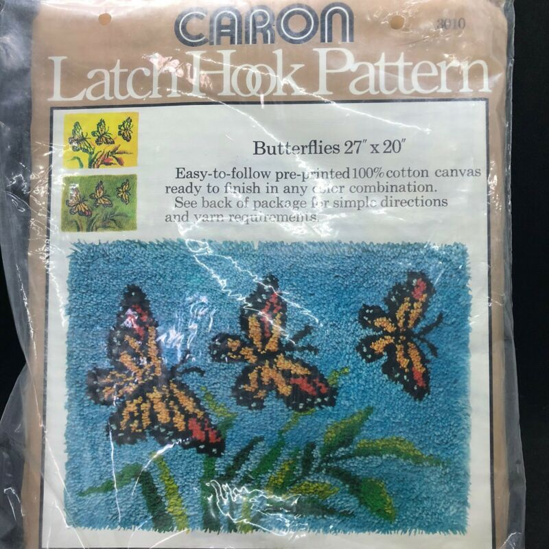 "Caron Latch Hook Pattern Canvas Butterflies 27"" x 20"" #3010 1977 Made In USA New"