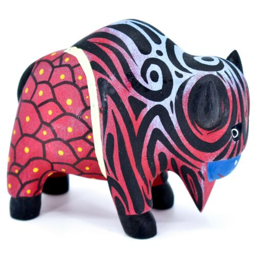 Handmade Alebrijes Oaxacan Wood Carving Painted Folk Art Buffalo Bison Figurine