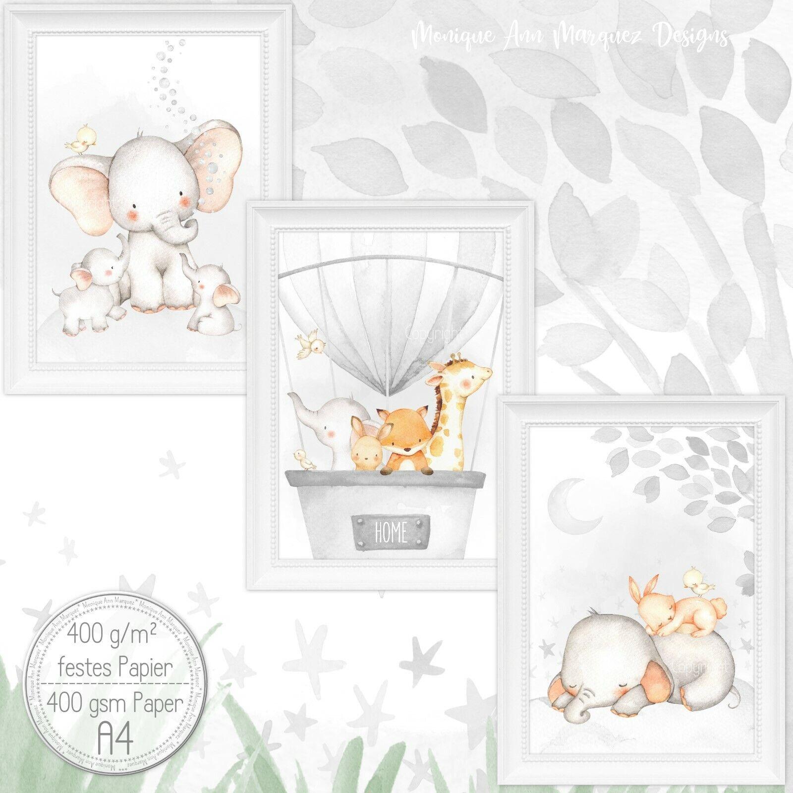 Babyzimmer Bilder Kinderzimmer Bild Tiere Kunst Druck für A4 Bilderrahmen |Set41