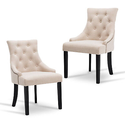 Set of 2 Dining Framework Accent Chairs Elegant Tufted Beige Pattern Armrest Room