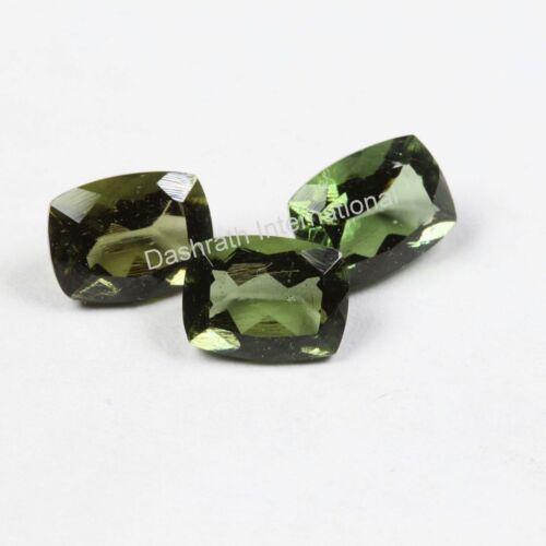 Natural Moldavite Long Cushion Faceted Cut Calibrated Loose Moldavite Gemstone