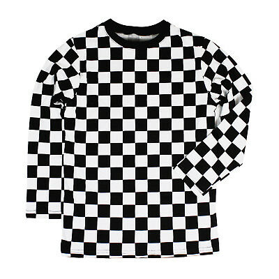 Child RAD 80's Long Sleeve PUNK Checkered Shirt Black White S M L XL Boys Girls - Punk Child
