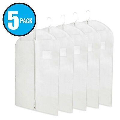 "40"" White Hanging Garment Bags with Zipper & Window for Suits & Dresses 5 Pack ()"