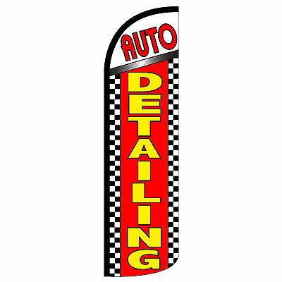 Windless Swooper Feather Flag Tall Banner Sign 3 Wide Auto Detailing Red Yellow