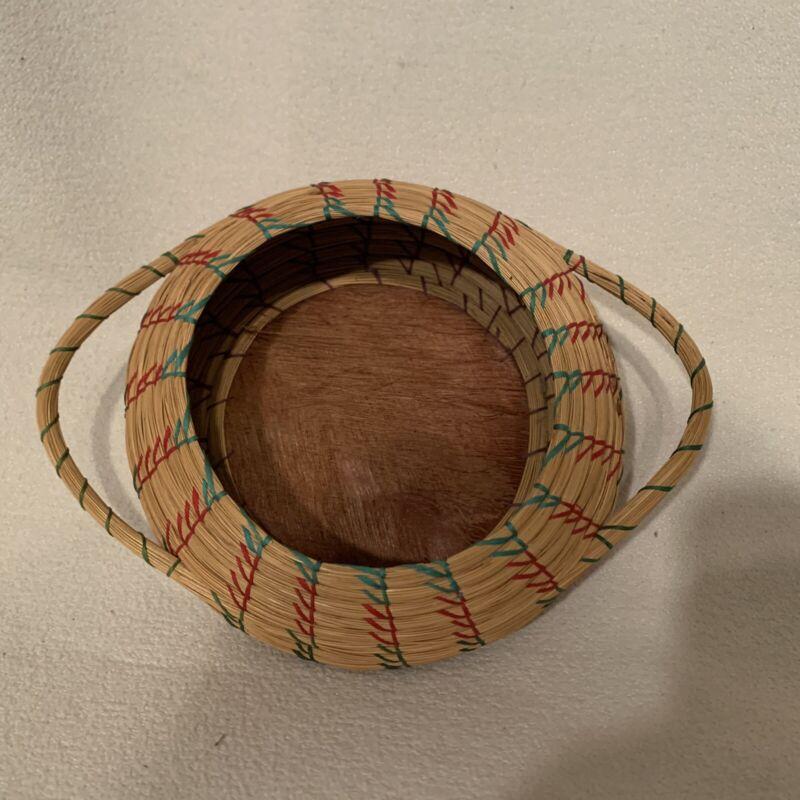 Vintage African Handwoven 2 Handled Colorful Trinket Basket Natural Materials