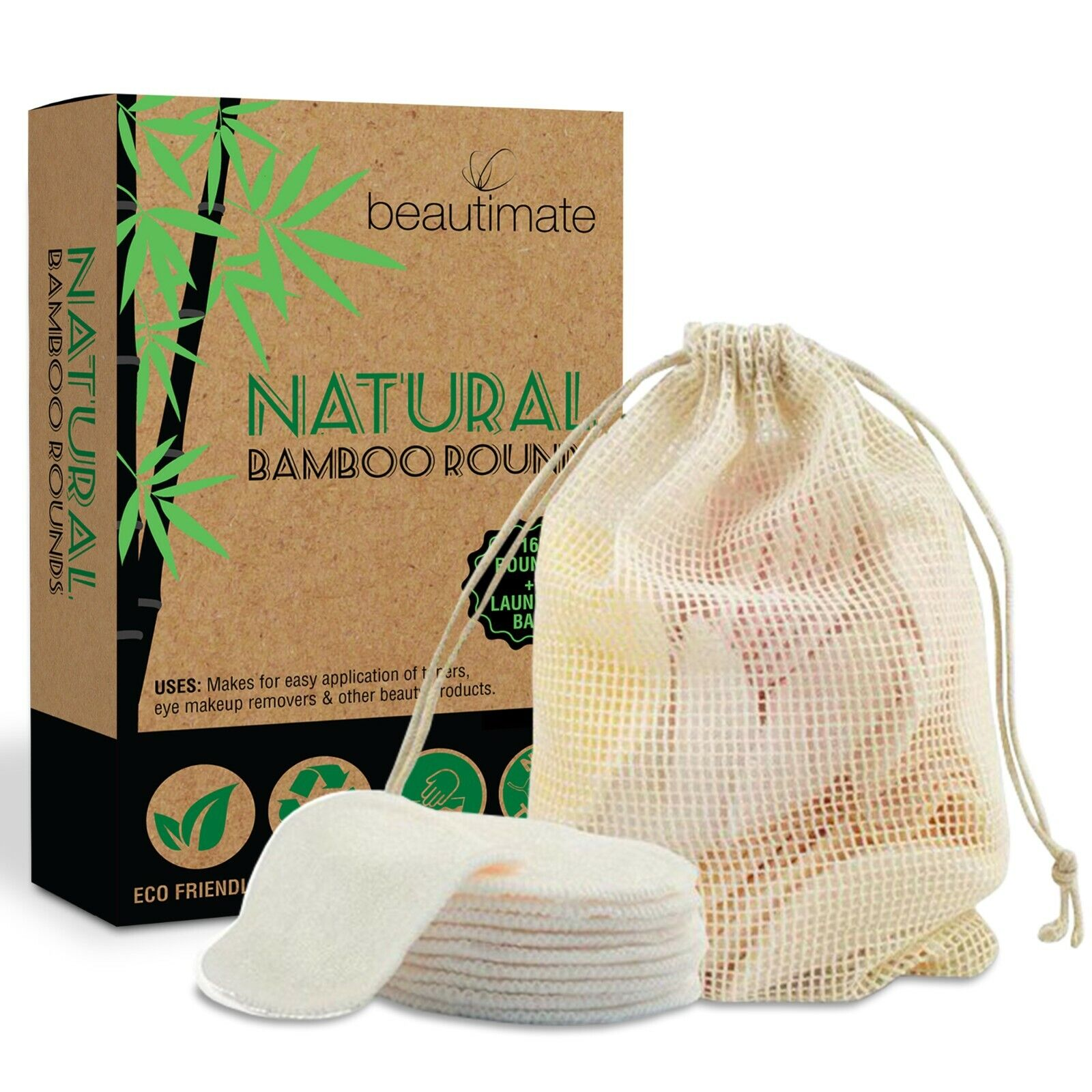 Bamboo Cotton Reusable Makeup Remover Pads Rounds 16 Pack Wi