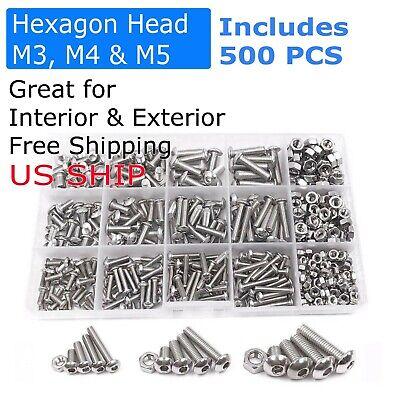 Us 500pcs Stainless Steel Hex Socket Cap Head Bolts Screws Nuts M3 M4 M5 304 Kit