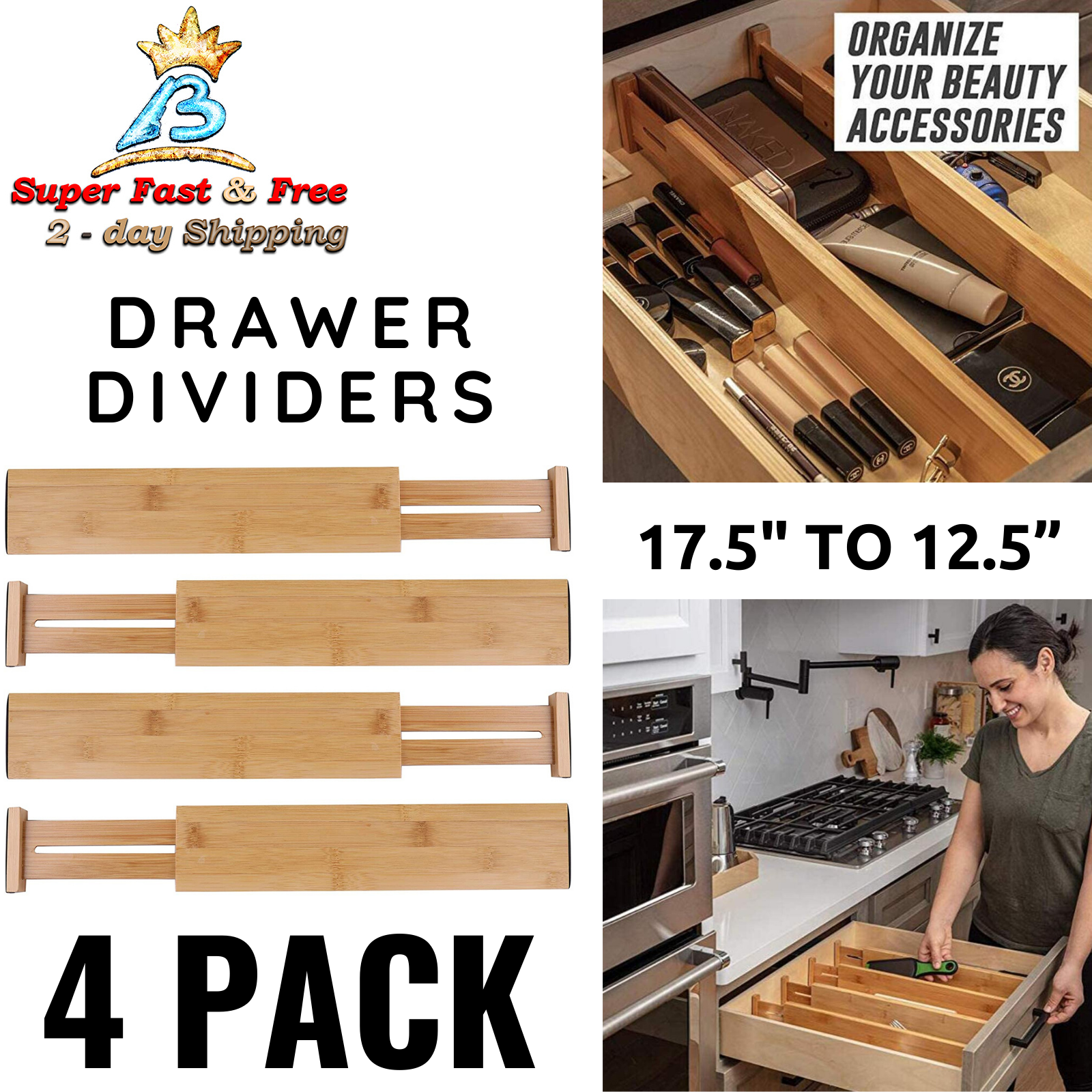 Adjustable Bamboo Drawer Dividers Set For Kitchen Tool Box O