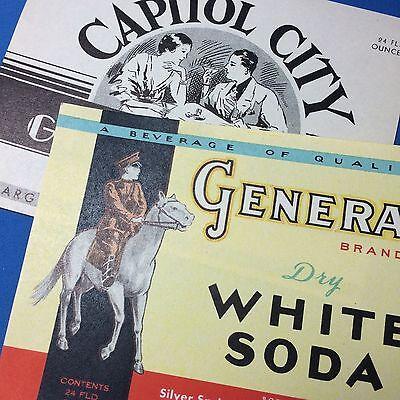 2 MADISON Wis GENERAL Soda & Capitol City LABEL Silver Springs Vintage Original