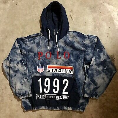 Polo Ralph Lauren Indigo Stadium Popover Jacket Large BNWT pullover p wing 1992