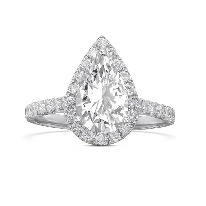 Real Diamond Engagement Ring G/i1 1.50 Ct Pear Cut 14k White Gold