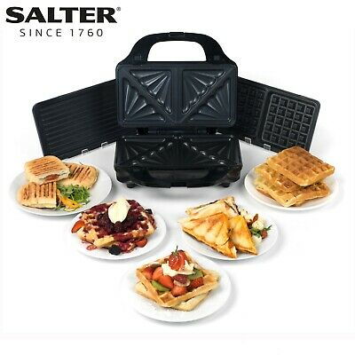 Salter® EK2143 Deep Fill 3-in-1 Snack Maker with Interchangeable Plates | 900 W