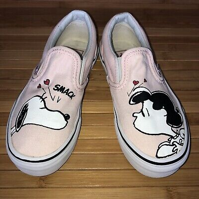 VANS Peanuts Slip On Skate Sneakers Snoopy Lucy Pink Shoes Size 12