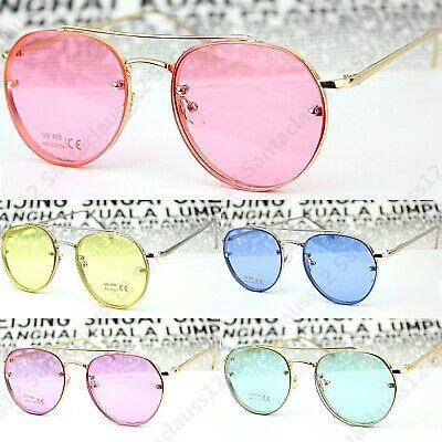 Oval Rund Getönt Durchsichtig Objektiv Damen Herren Sonnenbrillen Uv400