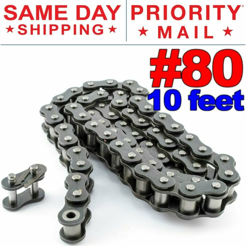 #80 Roller Chain x 10 feet + Free Connecting Link + Same Day Expedited Shipping