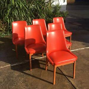 6X Vintage Noblett ORANGE dining chairs, teak table WE CAN DELIVER