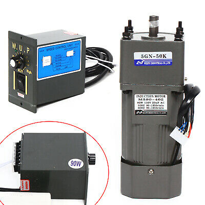 90w 50k Ac 110v Reversible Gear Motor Electric Variable Speed Controller 0-27rpm
