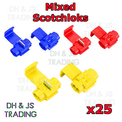 25 Mixed Scotchlock Wire Connectors Scotchlocks Splice Terminal Crimp Scotchlok