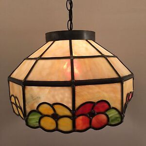 Vintage studio stained-glass MCM swag lamp light stained amber