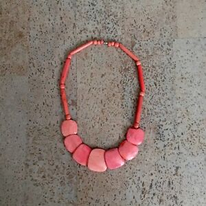 Coral Shell Bib Necklace