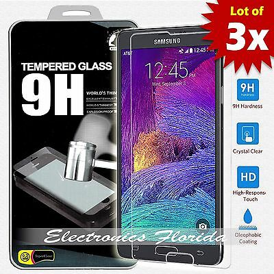 Temp Glass - [3X Package] for Samsung Galaxy Note 4 Real Tempered Glass Screen Protector A+
