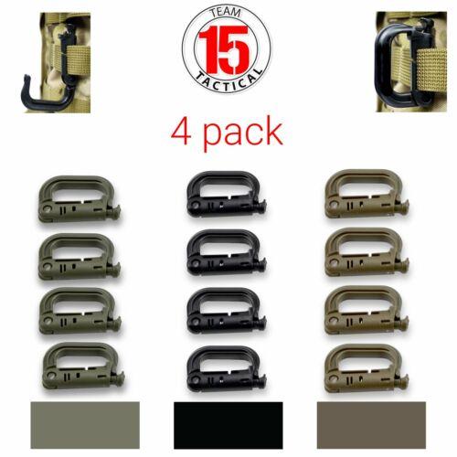 4 pack D-Ring Clip Molle Hook Grimloc Backpack Locking Buckl