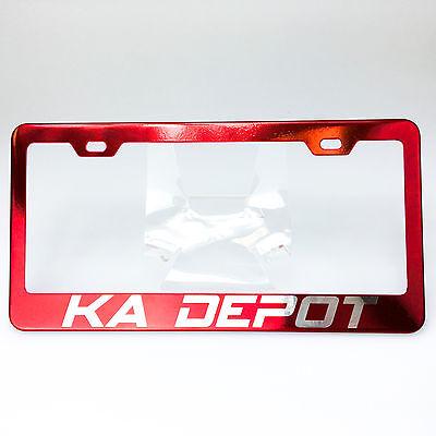 Powder Coated Candy Red Customilze License Plate Laser Engraved Frame KA DEPOT Red Coat Depot