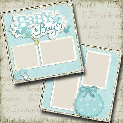 Baby Boy - 2 Premade Scrapbook Pages - EZ Layout 4034