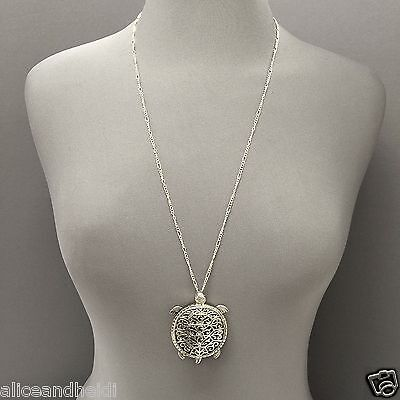 Antique Silver Chain Magnifying Glass Turtle Design Pendant Necklace