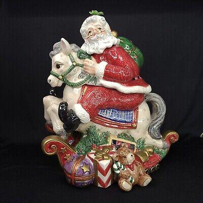 Fitz and Floyd Cookie Jar Santas List Rocking Horse Xmas Centerpiece Vintage