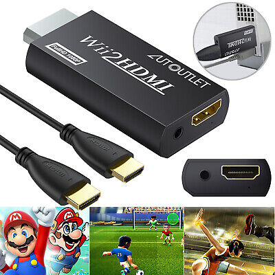 Portable Wii to HDMI Wii2HDMI Converter Adapter + 3.5MM Audio & 1m HDMI Cable