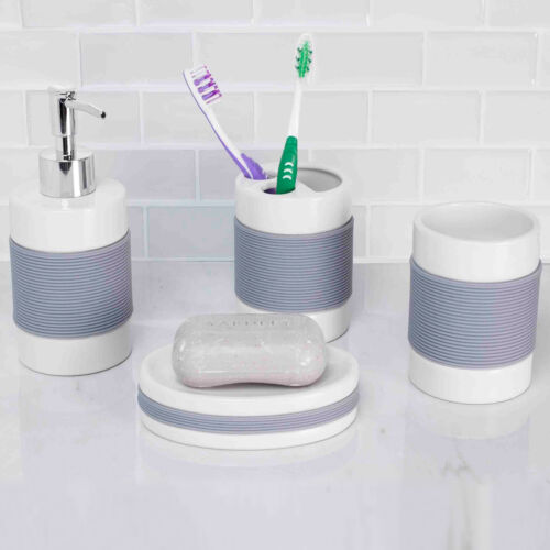 Home Basics White Ceramic Accessories With Rubber Grip 4 Piece Set Bath