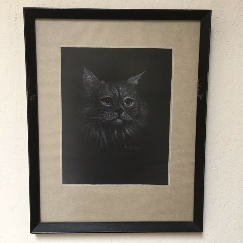 Cat Portrait Original Art Pastel Framed Long Hair Black Background Vintage