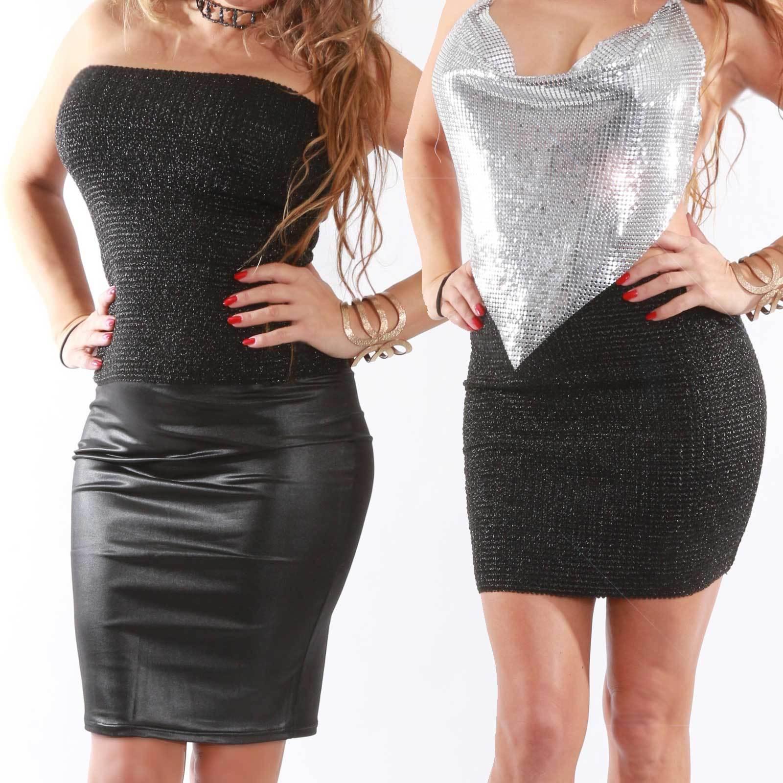 Spagetti Träger glamour Top weiss schimmernd Einsatz  silber glitzer Glam