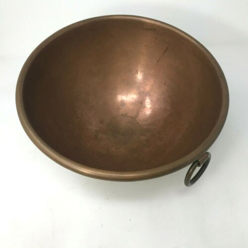 """Vintage Copper Bowl Made In France 10"""" X 5.5"""" Round Bottom"""