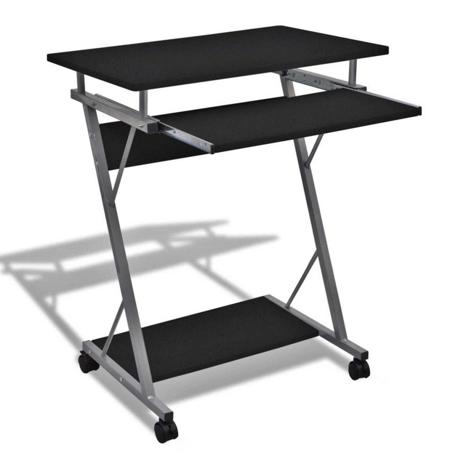 buy online dfe47 8cc10 Details about Portable Computer Desk Black Laptop Stand Small Workstation  PC Trolley Stand New