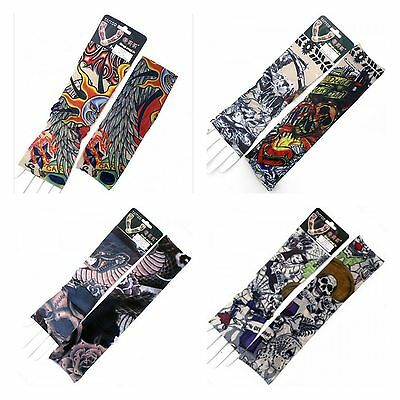 ONE PAIR PIRATE SKULL SUN SNAKE TEMPORARY FAKE TATTOO STRETCHY CLOTH ARM SLEEVES