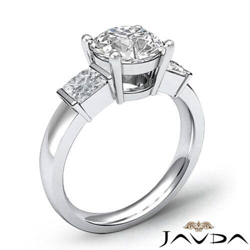 1.6ct Round Diamond Engagement 3 Stone Bar Set Ring GIA F VVS2 14k White Gold 1