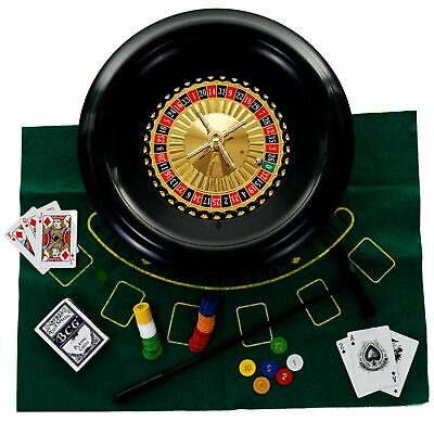 16 inch Deluxe Roulette Set with Accessories Double Sided Felt for Blackjack
