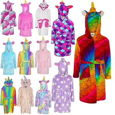 Kids Girls 3D Animal Unicorn Bathrobe Fleece Dressing Gown Loungewear 2-13 Years - Kids Bathrobe