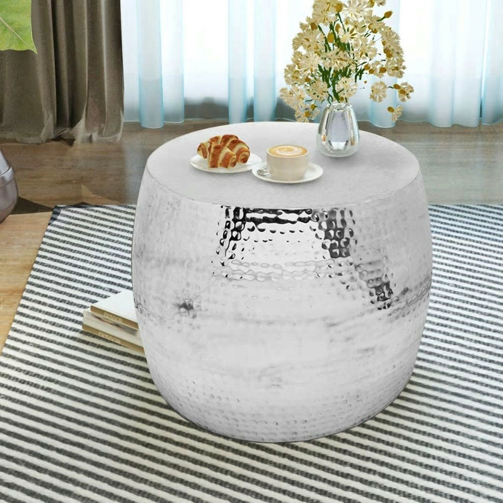 Drum Shaped Coffee Table.Details About Metal Silver Coffee Table Drum Shaped Side Sofa Unit Vintage Room End Lamp Stand