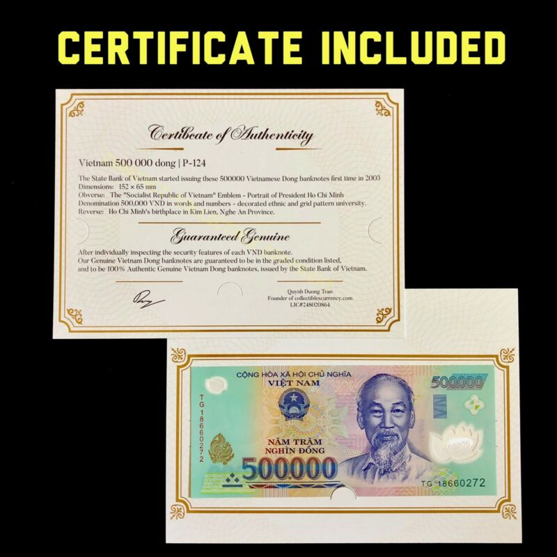 1 MILLION VND = 2 x 500,000 - 500000 DONG VIETNAM CURRENCY BANKNOTE - 500k VND